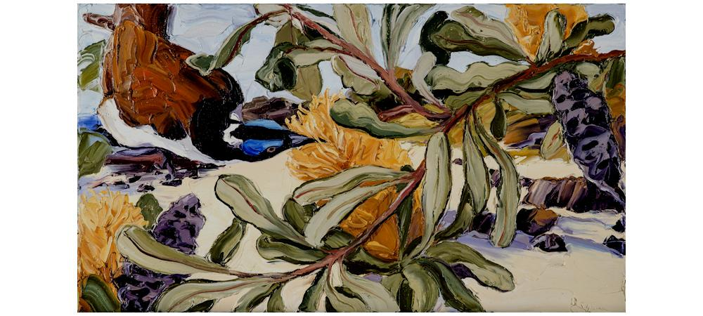 Blue Faced Honeyeater, Banksia and Beach by Steve Tyerman